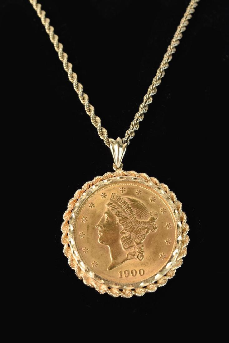 1900 $20 Dollar Gold Coin in 14K Bezel Rope Chain