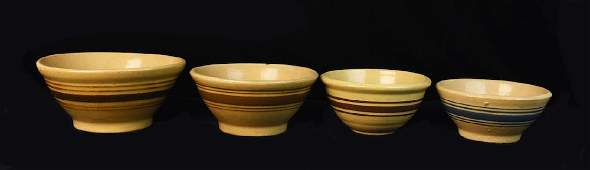 4 Yellow Ware Stoneware Nesting Banded Bowls