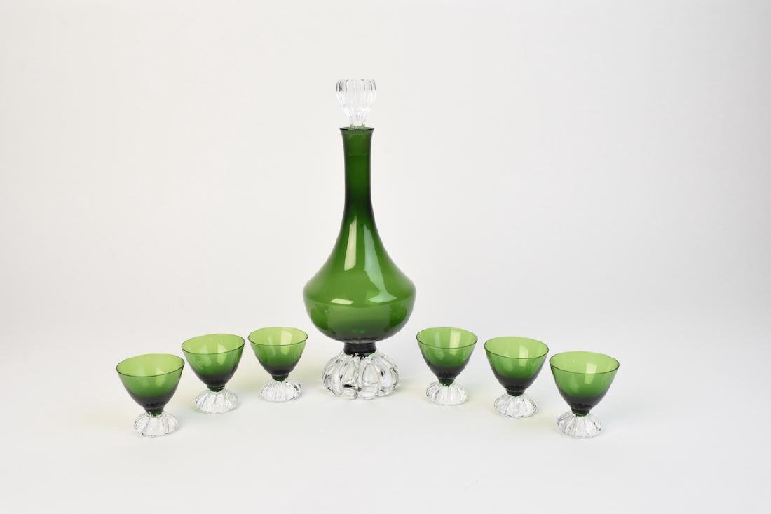 Vintage Green Glass Decanter With Cordials