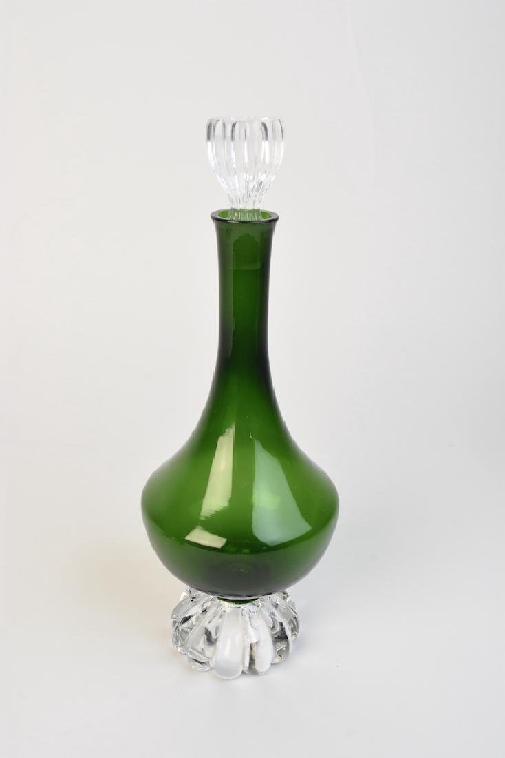 Vintage Green Glass Decanter With Cordials - 2