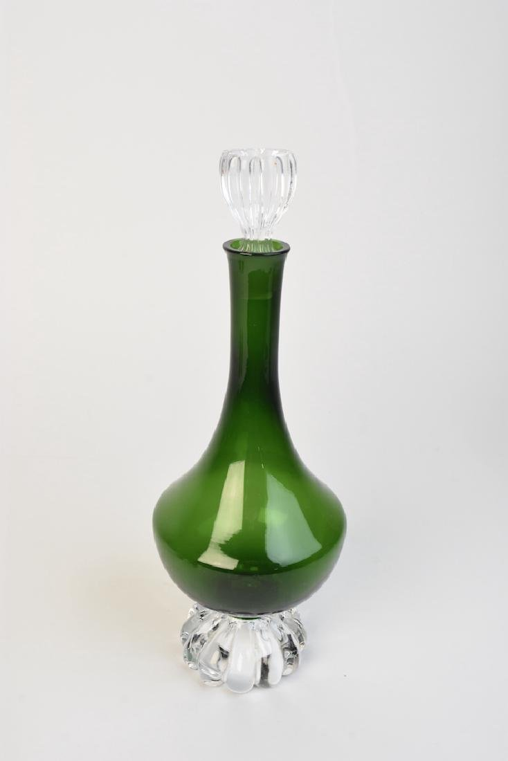 Vintage Green Glass Decanter With Cordials - 3