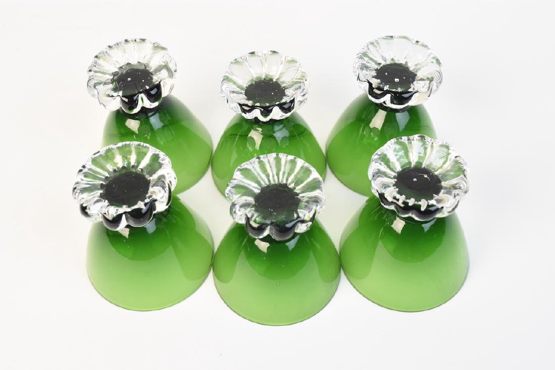 Vintage Green Glass Decanter With Cordials - 5