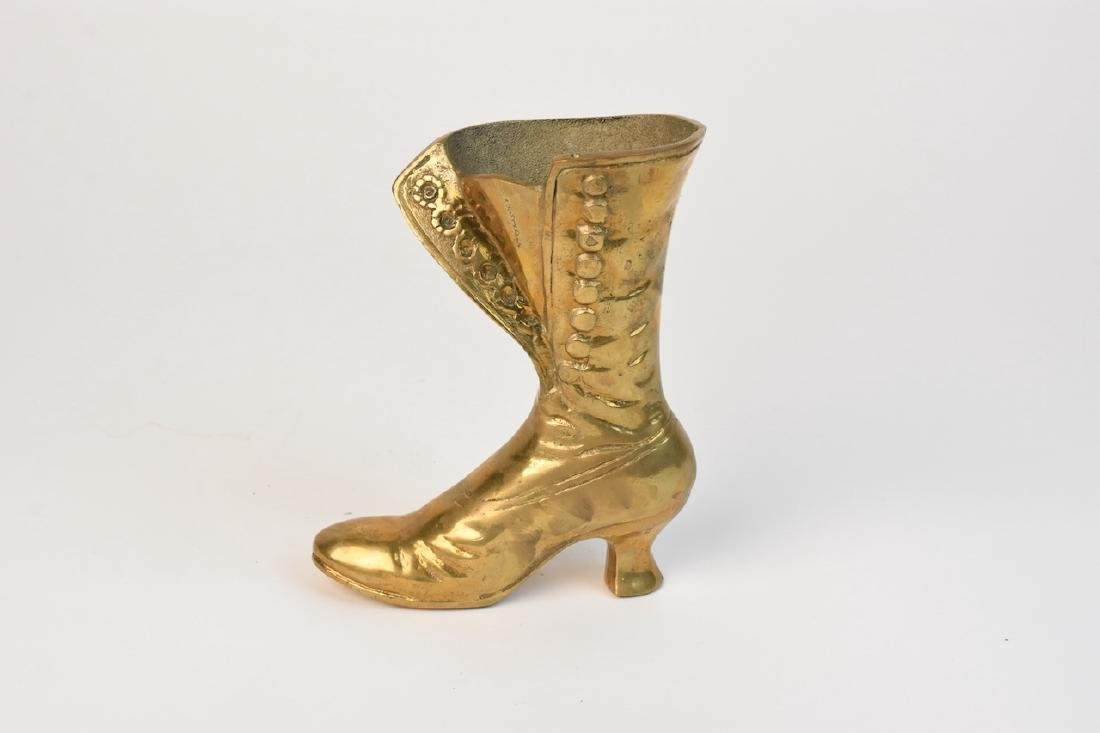 Victorian Style Lace up Ladies Brass Boot Vase