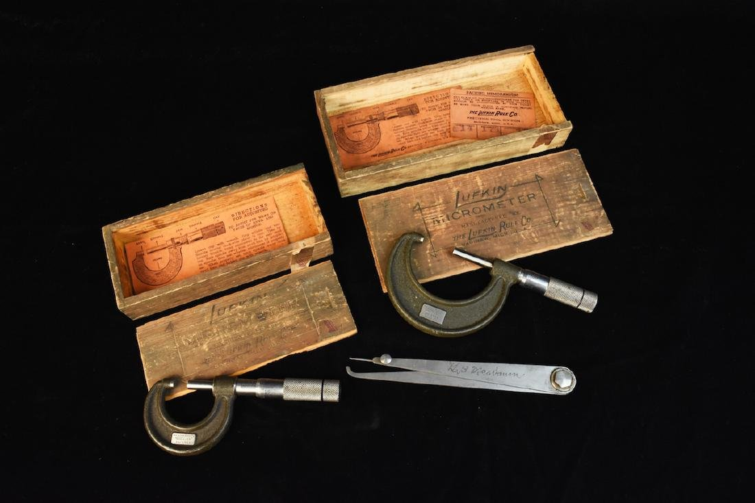 (2) Vint. Lufkin Rule Co. Micrometer Calipers