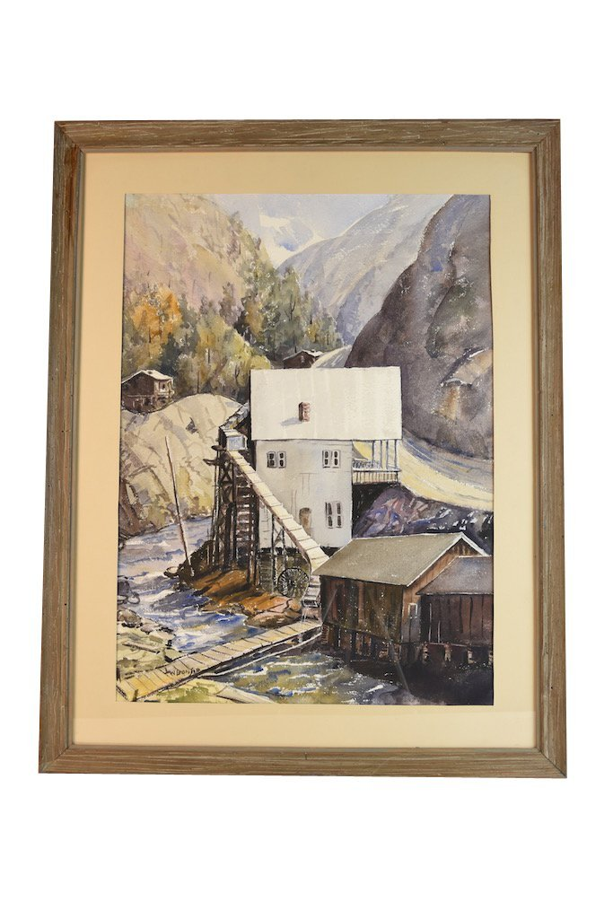 Watercolor by Louis Bonsib; Mill in the Gorge