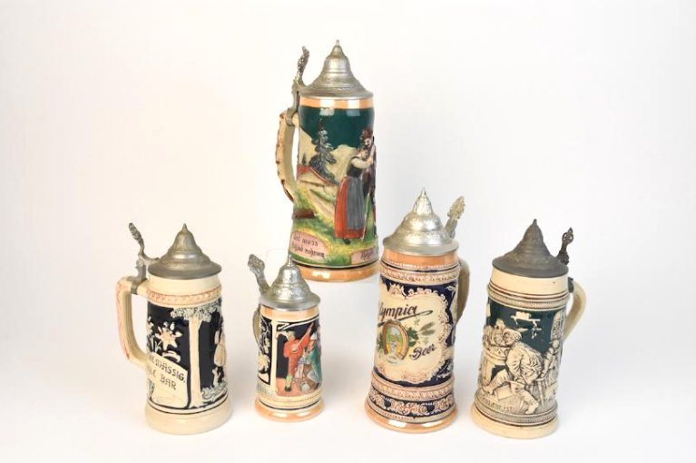 (5) Vintage Lidded Ceramic German Beer Steins