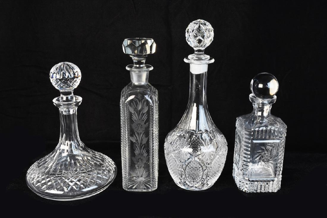 (4) Glass/Crystal Decanters Including Ships Decanter
