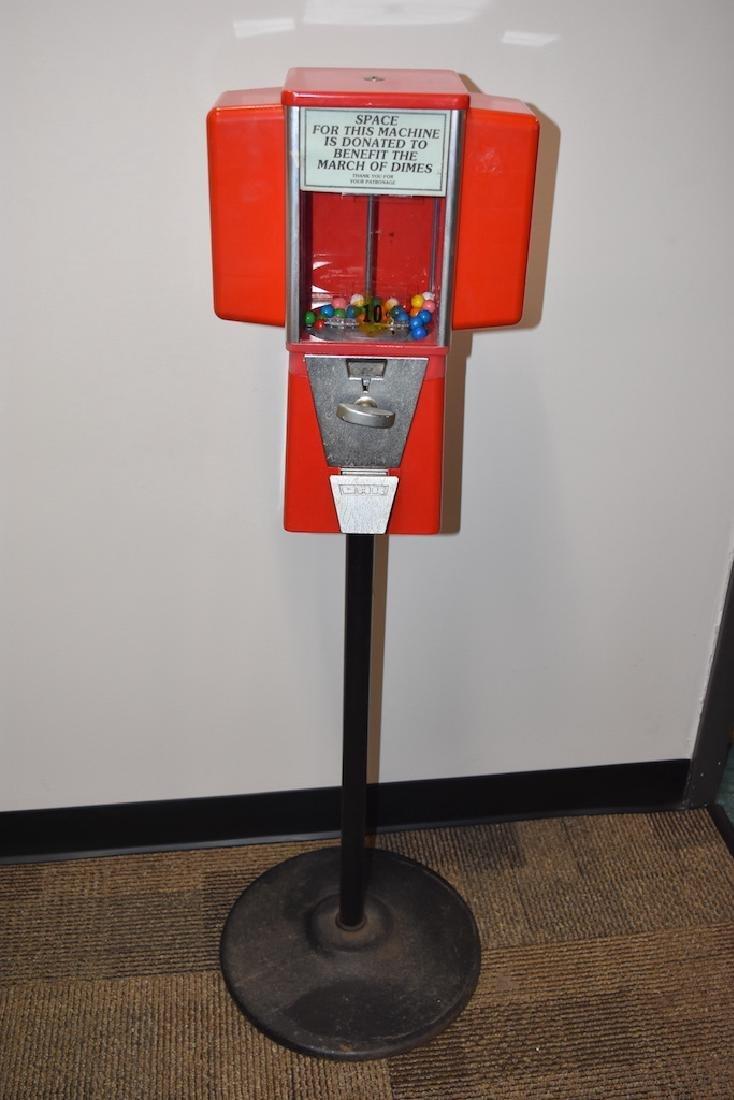 RARE Retro Oak 10 Cent Bubble Gum Machine
