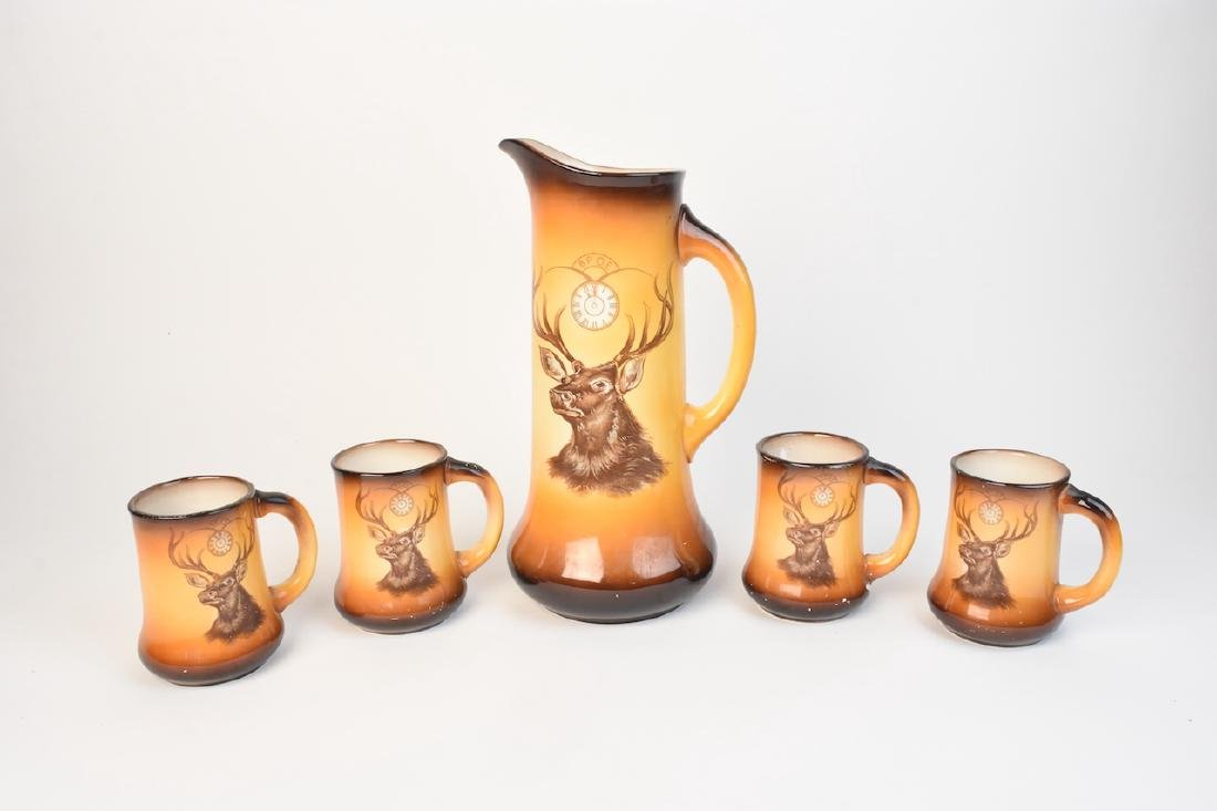 BPOE Elk Pitcher and Four Mugs