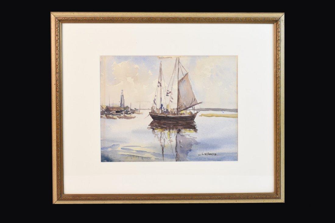 Early Louis Bonsib Watercolor Nautical Theme