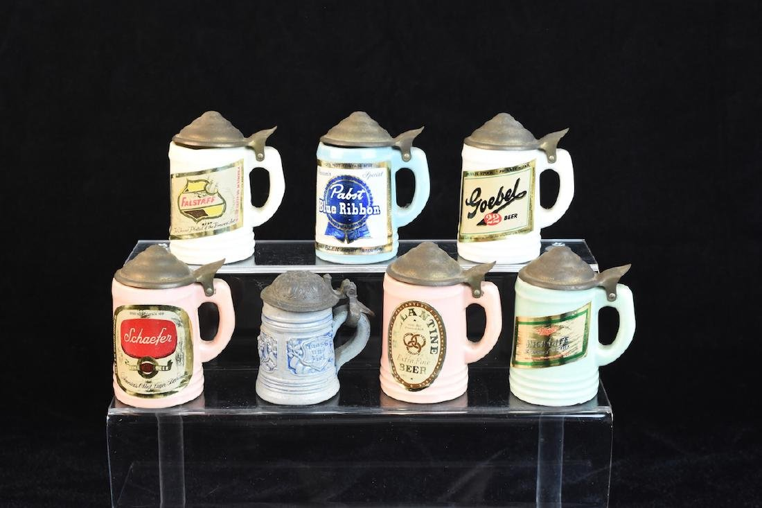 Miniature Vintage Beer Advertisement Steins