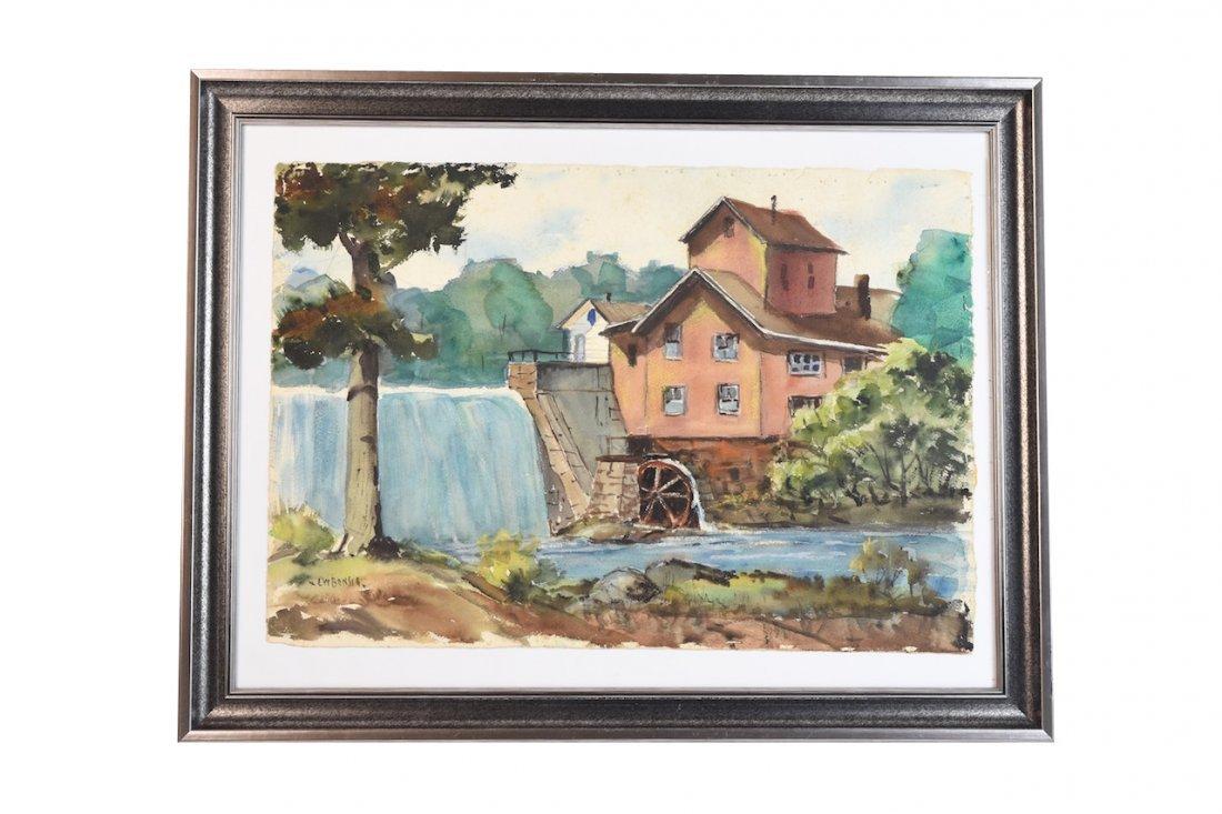 Original Bonsib Landscape Watercolor Mill, SLL