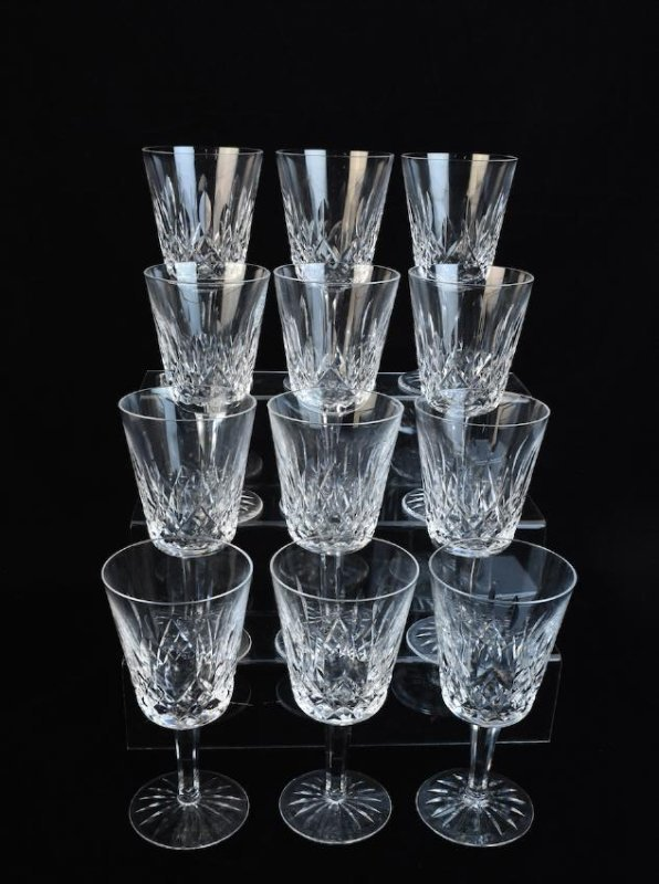 (12) Waterford Lismore Crystal Water Goblets