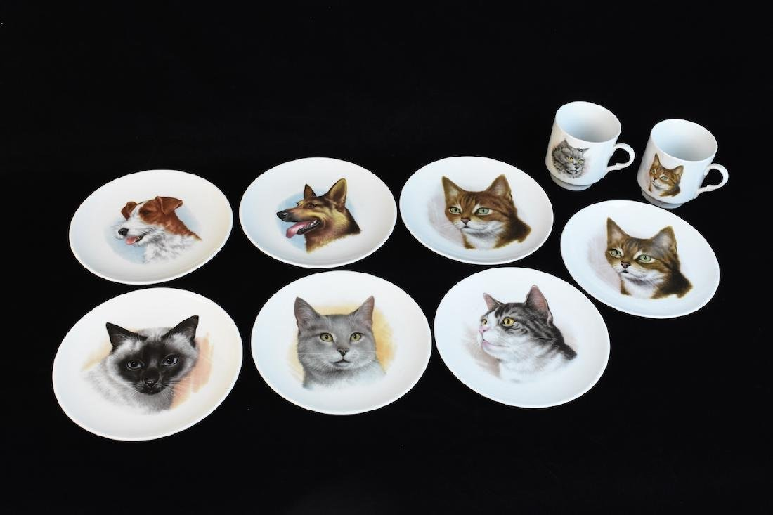 Schumann Arzberg Bavaria Dog/Cat Plates & Mugs