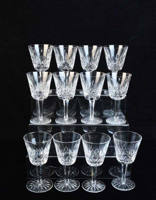 (12) Waterford Lismore Claret Wine Glasses