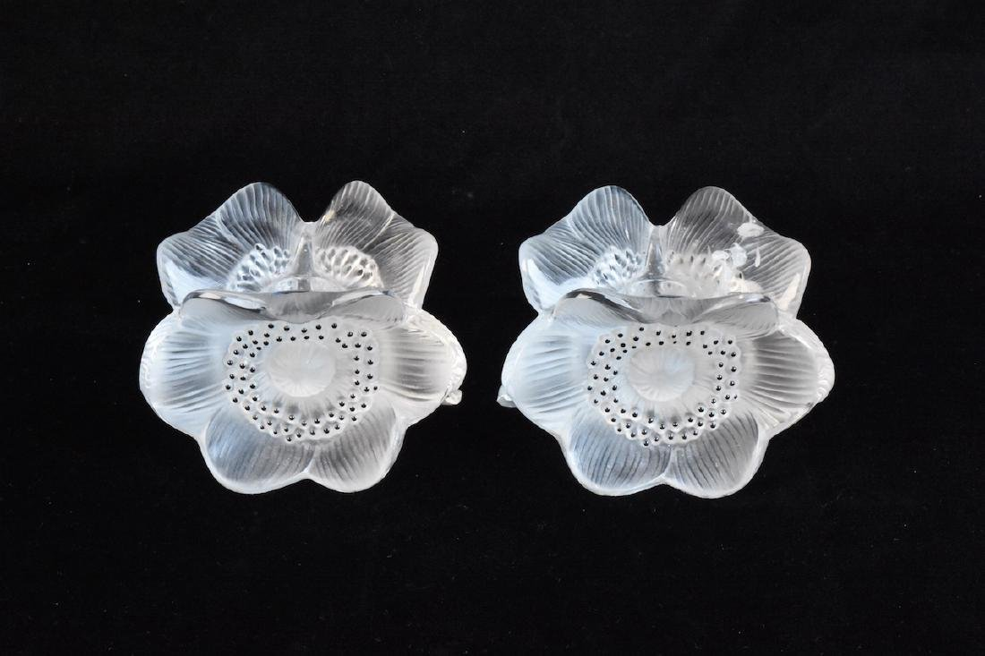 Lalique Crystal Poppy Candle Holders; signed