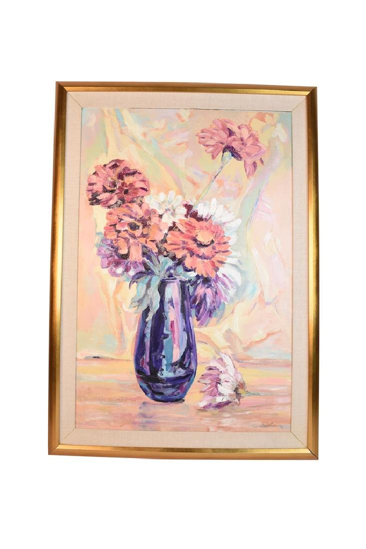 Oil On Board of a Vase of Flowers; SLR