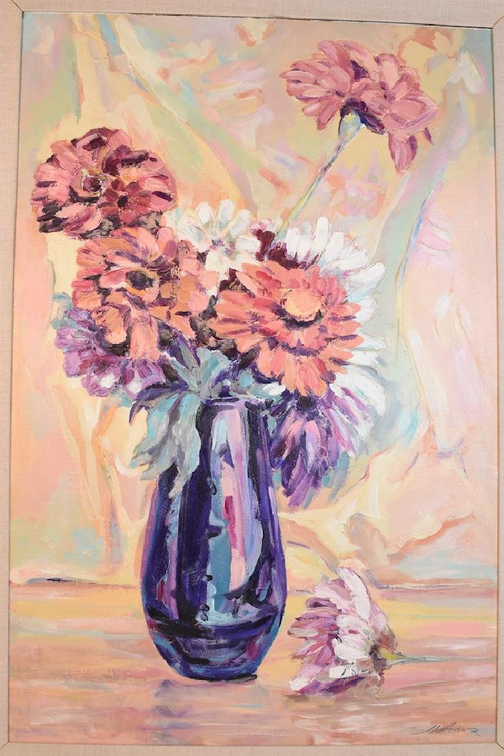 Oil On Board of a Vase of Flowers; SLR - 2