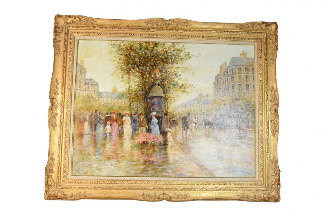 E.J. Cygne Oil on Canvas; Merchand des Fleurs