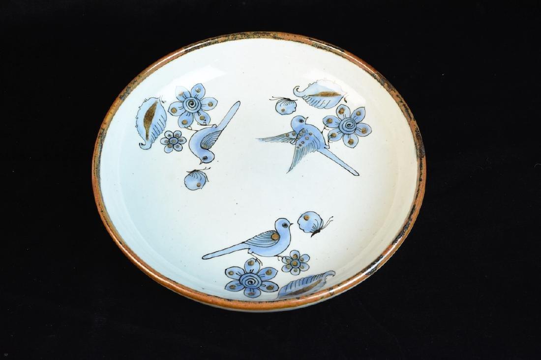 Mexican El Palomar Pottery Bowl W/Blue Birds