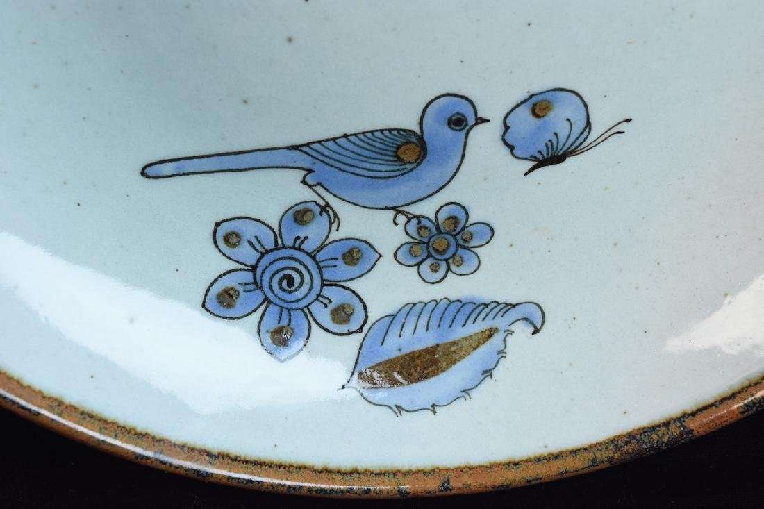 Mexican El Palomar Pottery Bowl W/Blue Birds - 2