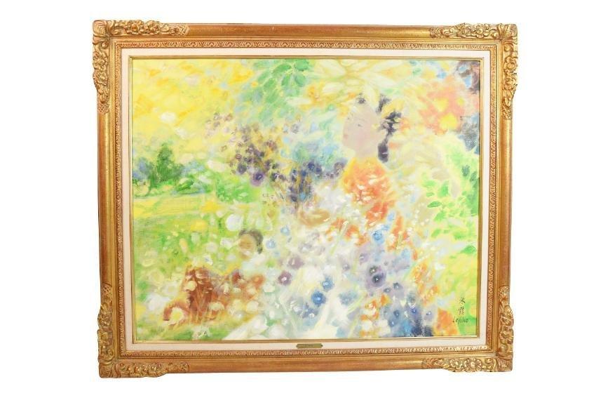 Le Pho Oil on Canvas; Parrni-Les Fleurs