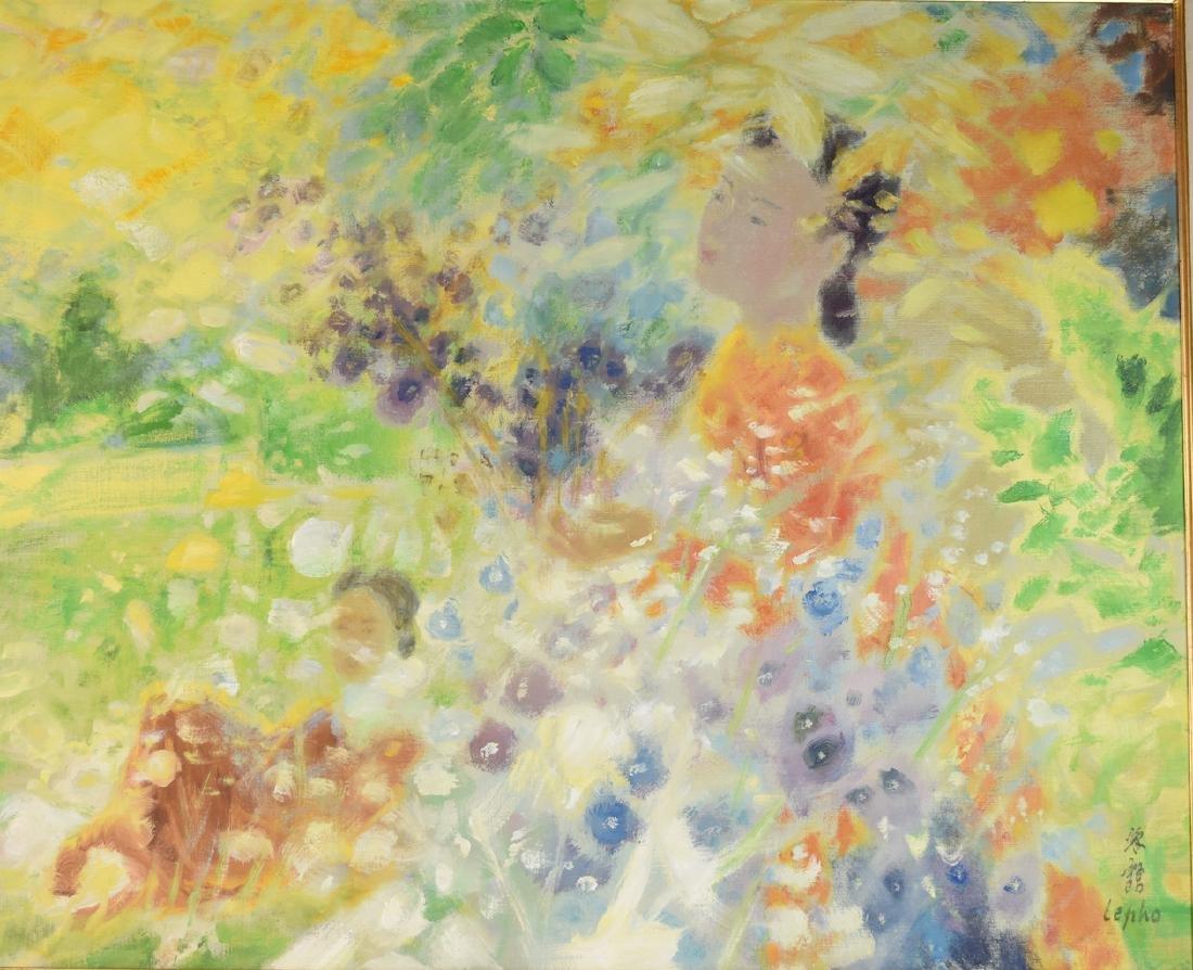 Le Pho Oil on Canvas; Parrni-Les Fleurs - 2
