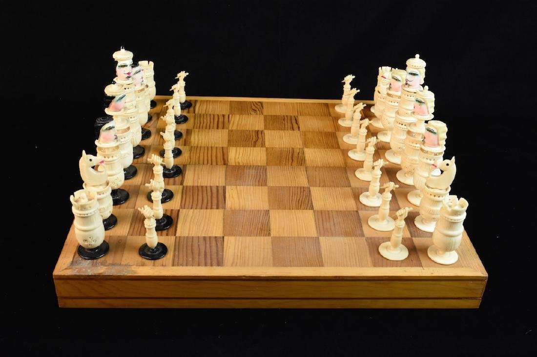 Unique Bone Carved Chess Set W/ Wood Board