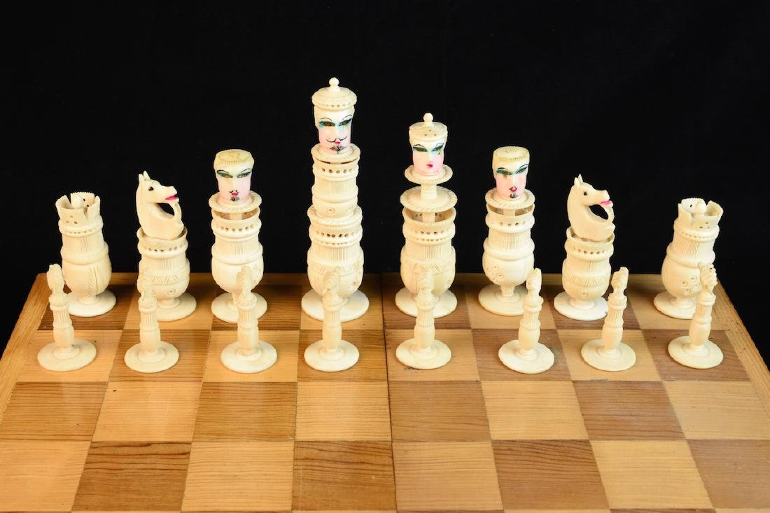 Unique Bone Carved Chess Set W/ Wood Board - 2