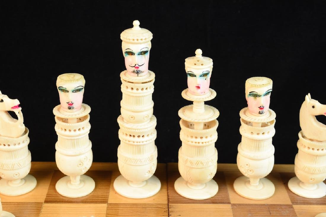 Unique Bone Carved Chess Set W/ Wood Board - 3