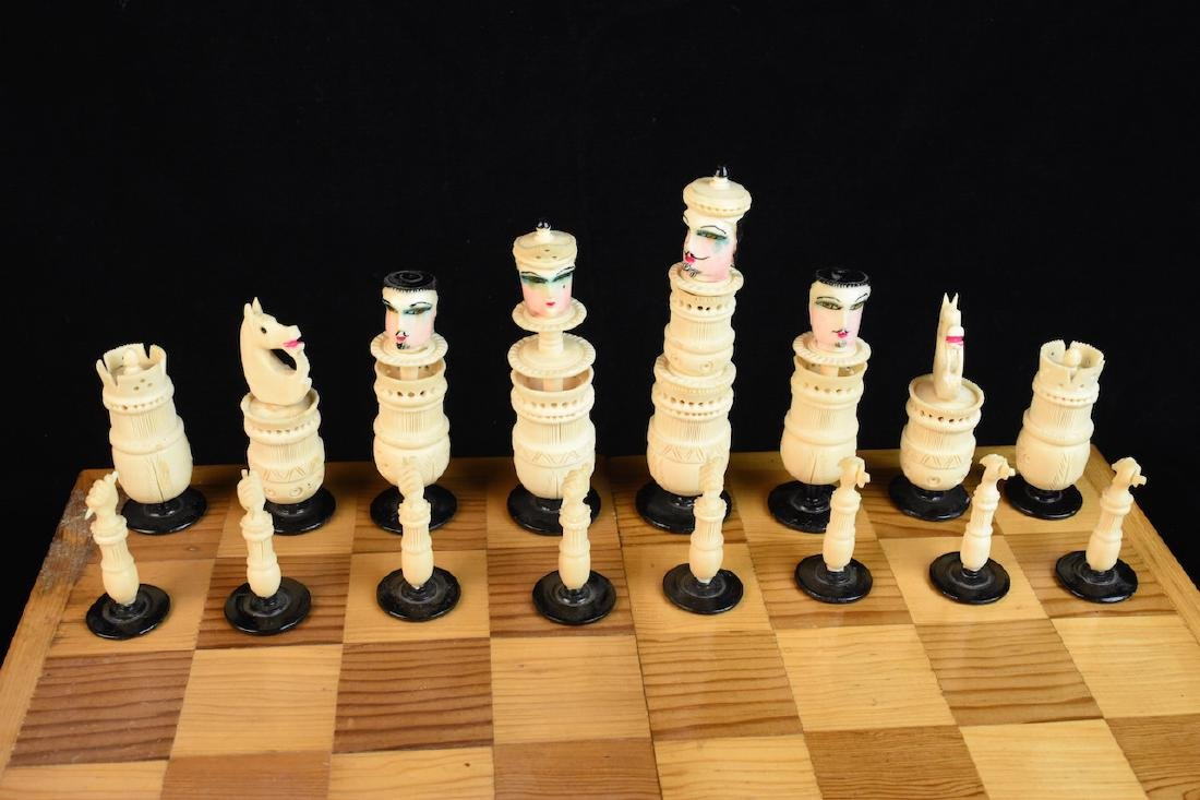 Unique Bone Carved Chess Set W/ Wood Board - 6
