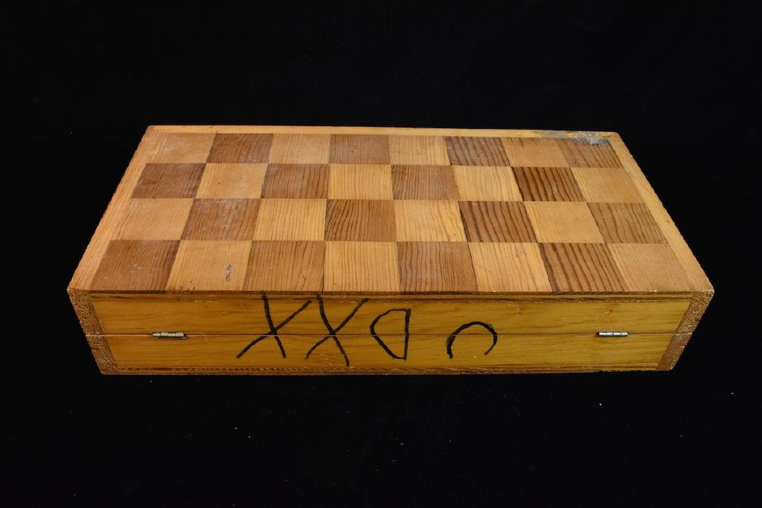 Unique Bone Carved Chess Set W/ Wood Board - 8