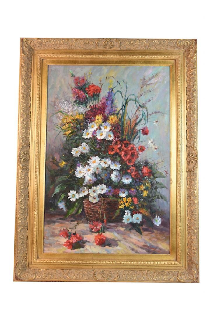 Floral Still Life Signed Vargas; Oil on Canvas