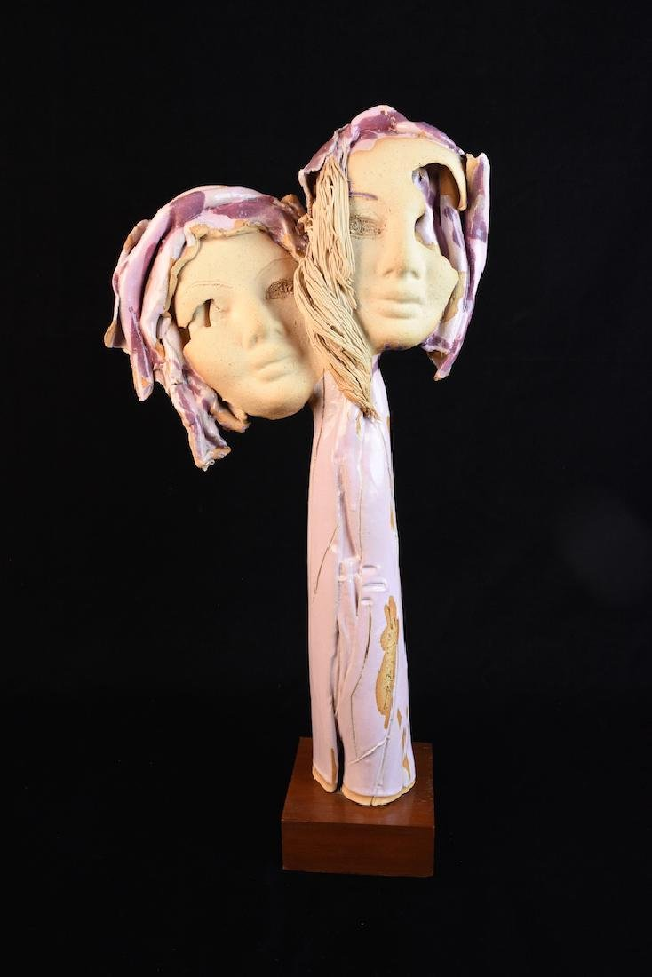 Modern Clay Sculpture Signed Saint P.R.