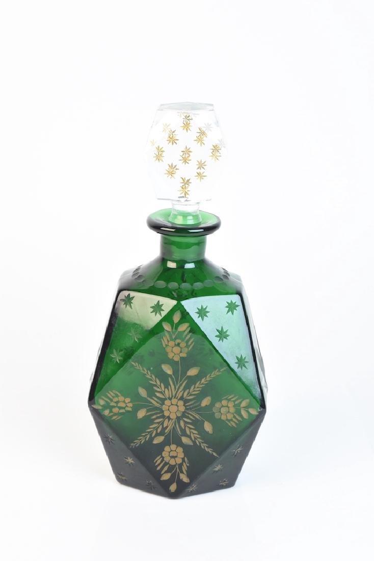 Vintage Retro Green Glass Decanter