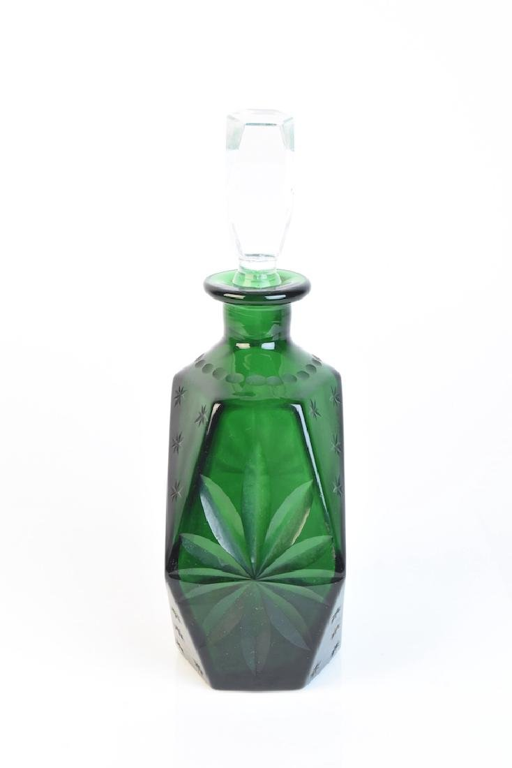 Vintage Retro Green Glass Decanter - 2