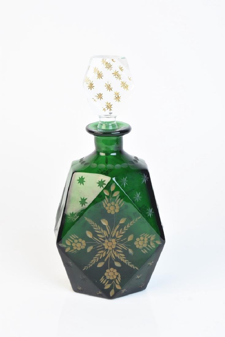 Vintage Retro Green Glass Decanter - 3