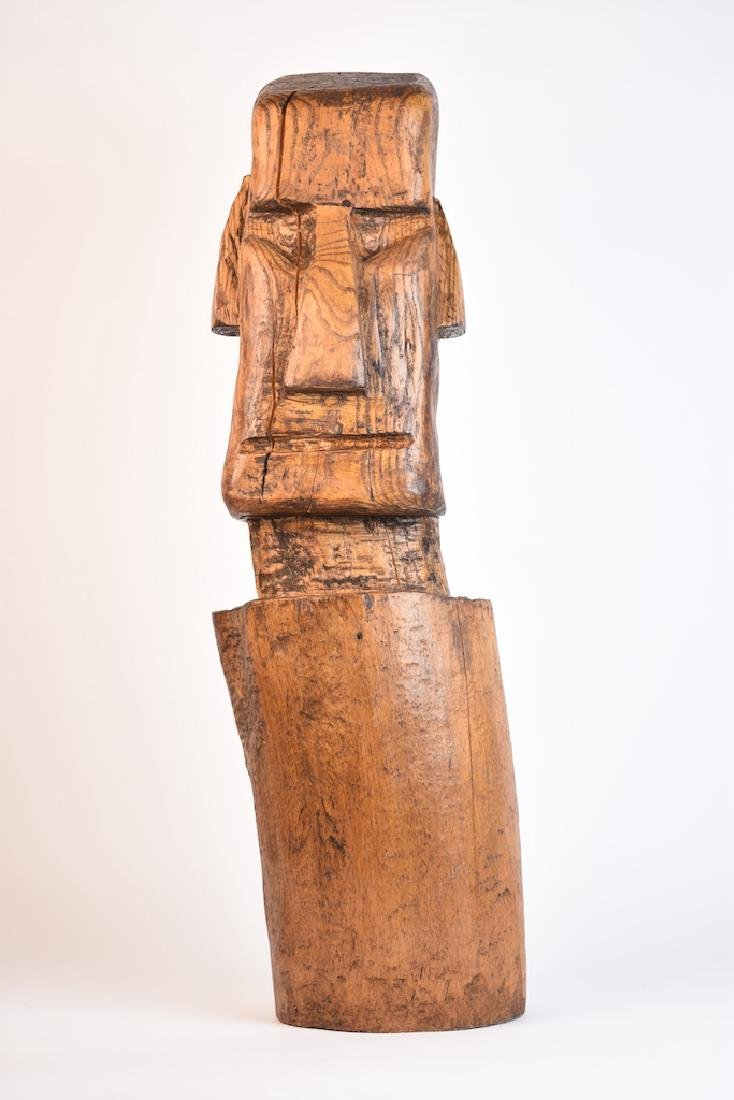 Wood Carved Easter Island Head Statue