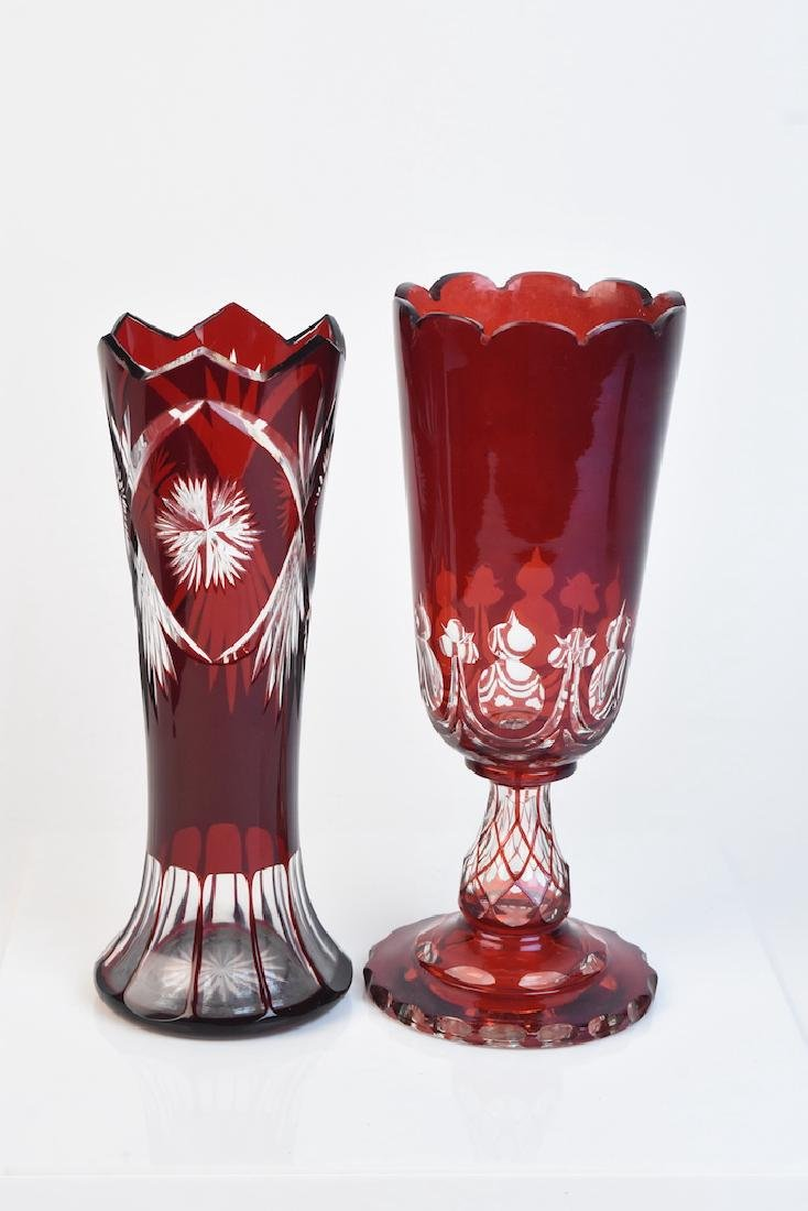 (2) Cranberry To Clear Cut Vases