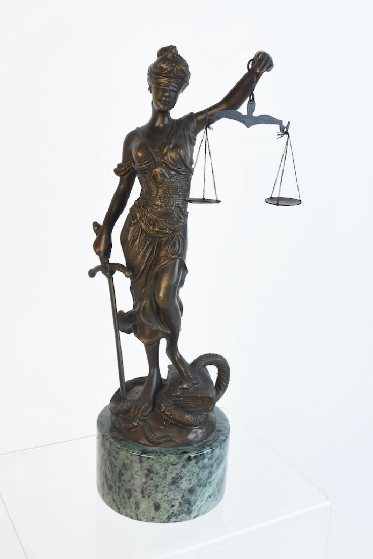 Bronze Blind Justice Statue; A. Mayer