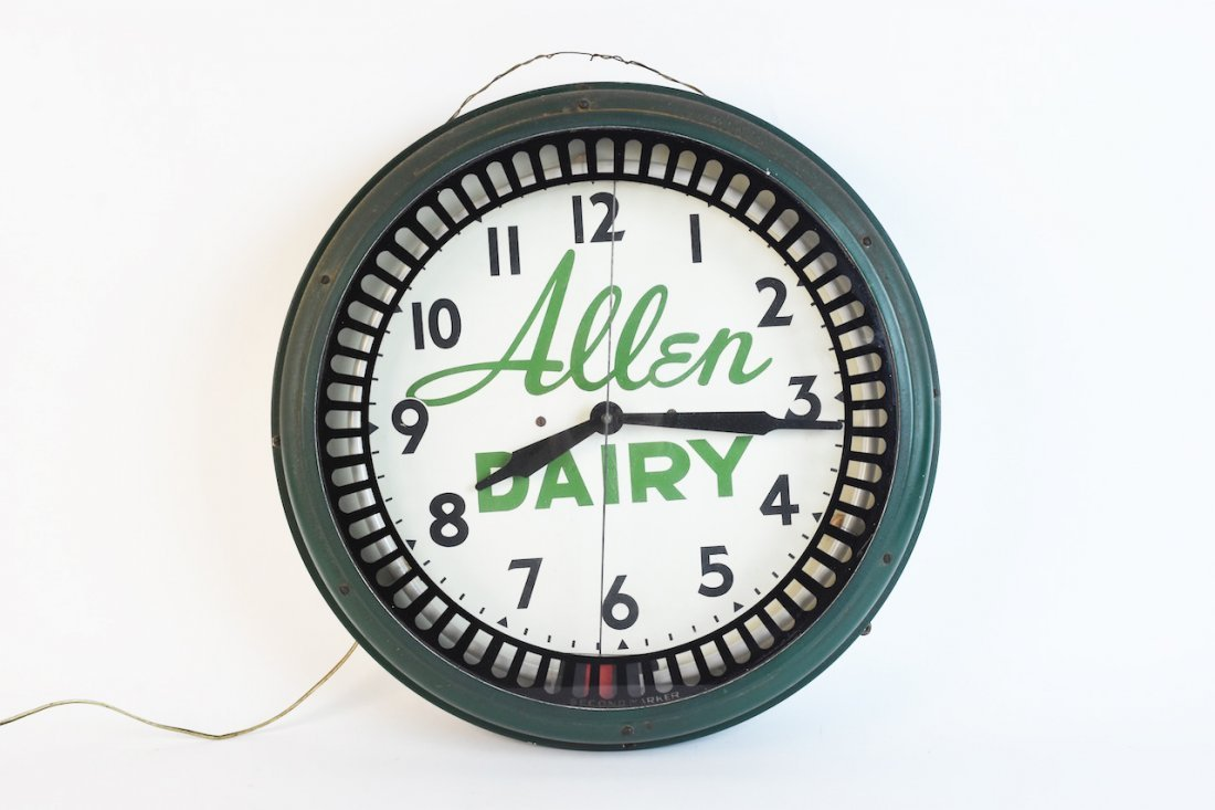 Vintage Lighted Allen Dairy Advertise Clock