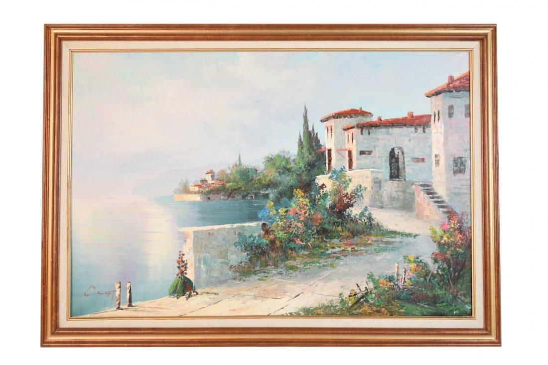 Oil on Canvas by C. Loft; Tuscan Villa Scene