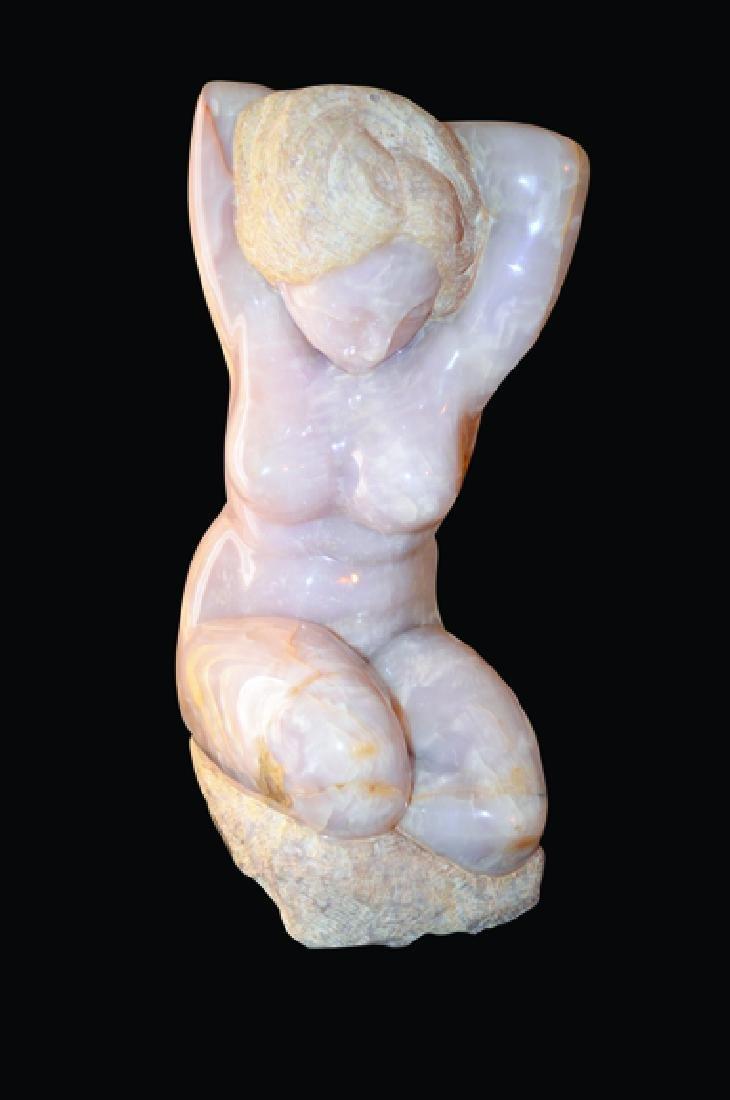 Bernard Simon Pink Onyx Female Body Sculpture