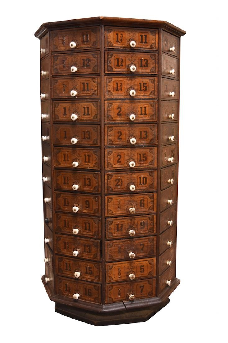 Antique Revolving Hardware Cabinet - 96 Drawers