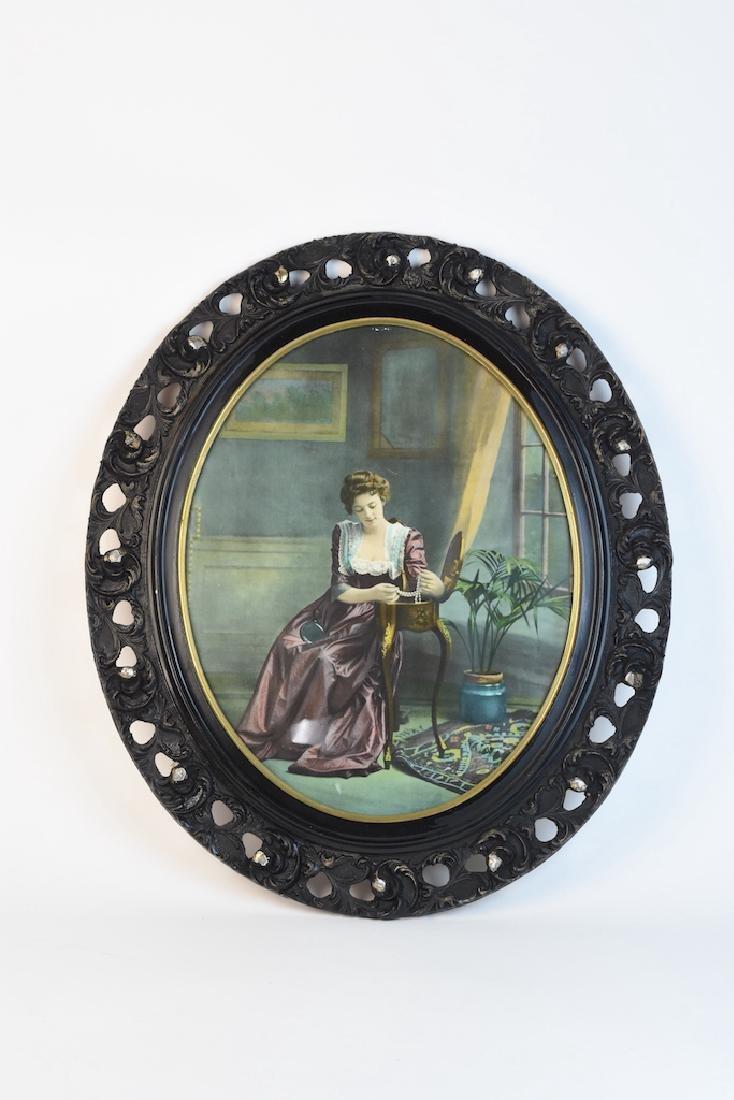 Vintage Print Lady w/ Pearl in Antique Frame