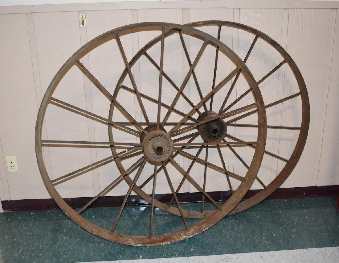(2) Large Antique Iron Wagon Wheels