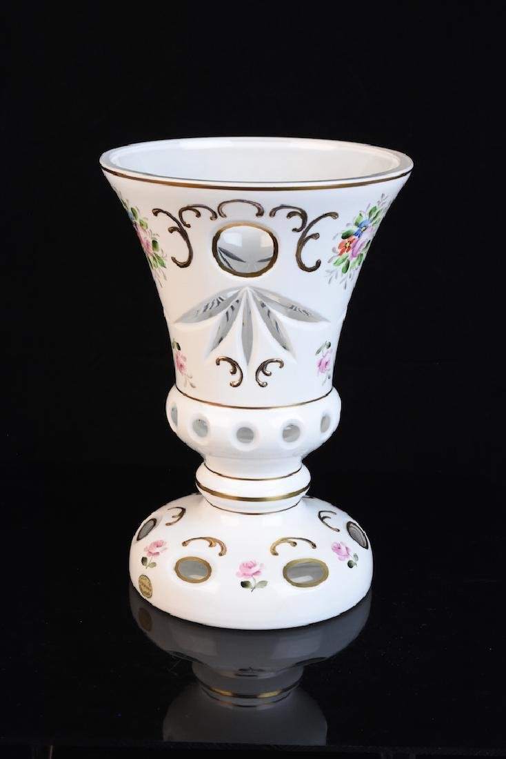 Bohemian Enameled Cut to Clear Glass Vase - 3