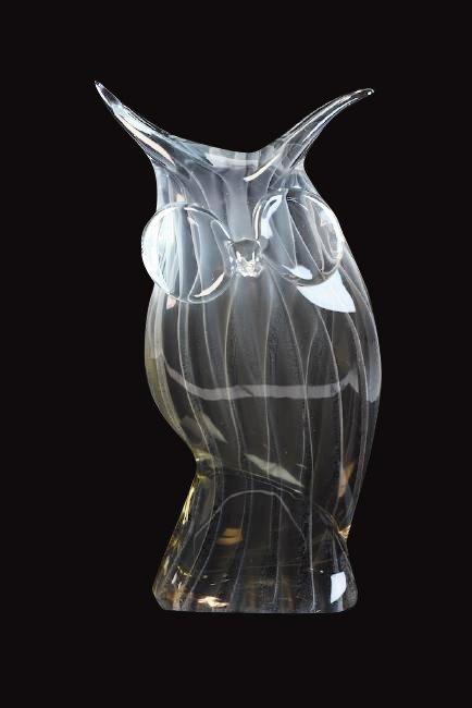 Licio Zanetti Murano Glass Owl Figural; Signed