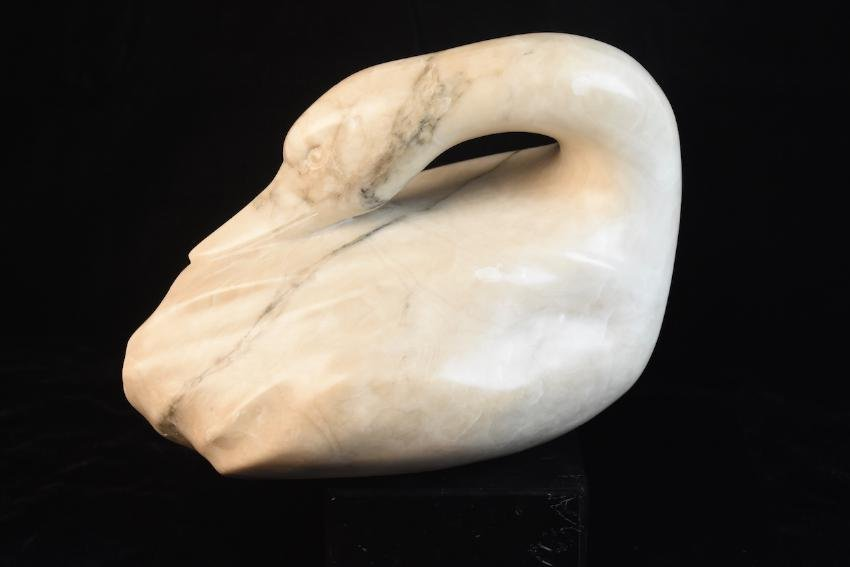 Ralph Hurst Signed Marble Duck Sculpture