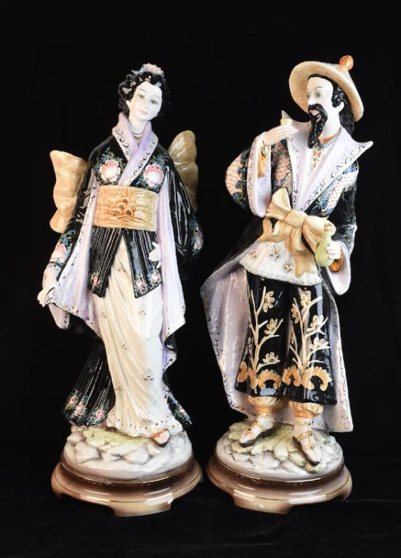 Pair Ceramic D. Poloviato Oriental Statues